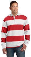 Sport-Tek Men's Classic Long Sleeve 100% Cotton Rugby Polo Stripe Shirt. ST300