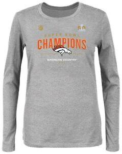 Denver Broncos NFL Womens Long Sleeve Superbowl 50 Champ Shirt Gray Plus Sizes