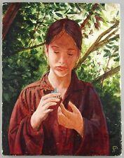 Gilles Peyrache: jeune fille en rouge: peinture sur carrelage? 2007