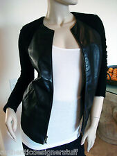 Auth RAQUEL ALLEGRA Black Leather and Angora Boucle Jacket, One Size