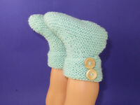 PRINTED INSTRUCTIONS- EASY BABY 2 BUTTON GARTER STITCH BOOTIES KNITTING PATTERN
