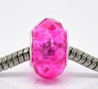 Hot Pink Fuchsia Faceted Crystal Murano Glass Bead for European Charm Bracelets