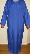 Algodón Egipcio Informal Hombre Galabia Azul Real Pijama XL