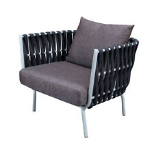 LeisureMod Outdoor Patio Spencer Modern Rope Frame Club Chairs With Cushions