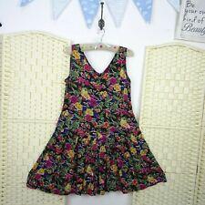 vintage floral tea dress black boho festival grunge pleated viscose M   D98
