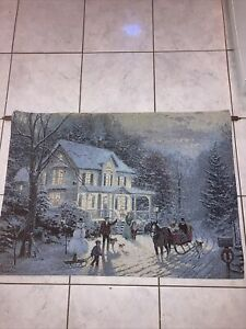 "Thomas Kinkade Fibre Optic Tapestry 'Home For Holidays' 36x26"" Brand New"