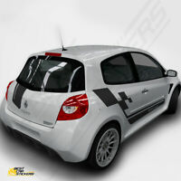 Fits Renault Clio Sports Full Kit Racing Side Stripes Car Stickers Graphics