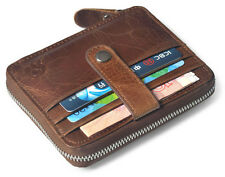 Real Leather Mens Zip Around Credit Card Holder Case Small Wallet Brown Pocket