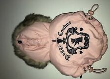Pet Juicy Couture Down Filled Dog Puffer Jacket Vest Fur Trimmed Hood XS PINK