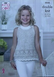 KING COLE KNITTING LEAFLET 5038.  CARDIGAN & TOP.  22  to 32ins.
