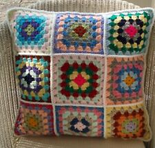 "16"" (41cm) HAND MADE CROCHET CUSHION COVER, MULTI COLOUR - WHITE EDGE"