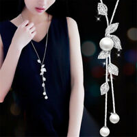 Women Pearl Crystal Leaves Flowers Multilayer Pendant Necklace Chain Jewelry Hot