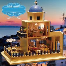 Doll House Romantic Santorini Island Dollhouse Music LED Light Furniture Gifts