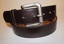 """Men Dark Brown Leather Belt With Brass Roller Buckle 34"""" #108"""