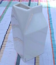 WHITE CERAMIC SELETTI MILK JUG FORMED AS A MILK CARTON SHAPE