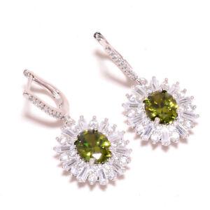 """Burmese Peridot & White Topaz 925 Sterling Silver Jewelry Earring 1.42"""" F2553"""