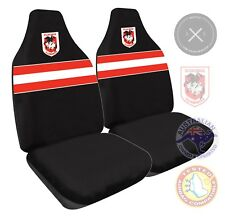 NRL ST GEORGE DRAGONS FRONT CAR SEAT COVER -AIR BAG COMPATIBLE PAIR New Design