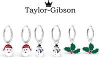 925 sterling silver hoops earrings Santa Snowman Holly Christmas Tree