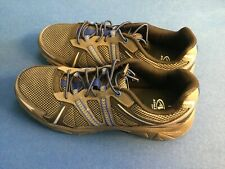 Athletic Works men's athletic running shoes, mesh upper,  leather, grey and blue