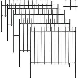 Gartenzaun Zaun Set Zaunelemente Metallzaun Tor mit Speerspitzen Stahl Schwarz