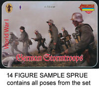 STRELETS M055 WWI GERMAN STORMTROOPS 1/72 Model Soldiers Kit - 1 SPRUE 14 figs