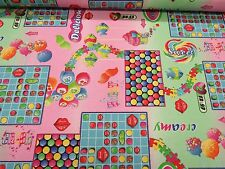 Kids Candy Crush Rosa Tessuto Di Cotone Stampa Dolci per Tende Tappezzeria Crafts