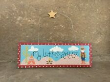 SALE Gisela Graham Cowboy blue wooden My Little Artist painting display sign