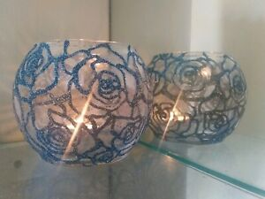 Wedding glitter Rose centerpieces candle holders glass contacte me for colors.