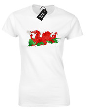 WALES PAINT SPLASH LADIES T-SHIRT WELSH RUGBY FOOTBALL FAN PATRIOTIC TOP (COL)