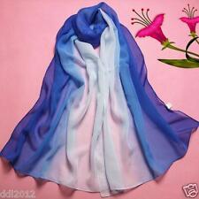 Fashion Lady Gradient Blue Long Wrap Women's Shawl Chiffon Scarf Scarves Stole