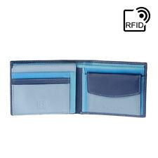 DuDu Portafoglio in pelle RFID da uomo Blu Multicolore classico con portamonete