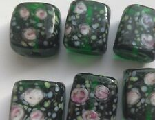 6  Patterned Handmade Lampwork Beads, Green/Pink Roses. Jewellery Making/Crafts