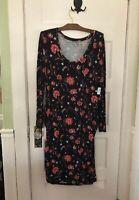 Women's XL OLD NAVY MATERNITY DRESS Stretch Jersey Shirred Black Flowers NWT