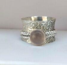 Rose Quartz Gemstone 925 Sterling Silver Spinner Meditation Ring Size-10  MB247