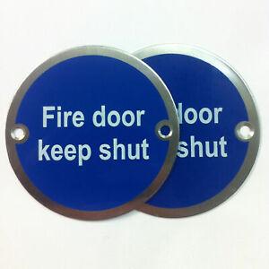 """76mm Sign """"Fire Door Keep Shut"""", SAA, Pair with fixing screws"""