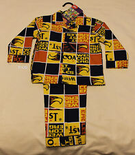 West Coast Eagles AFL Boys Blue Gold Squares Flannel Pyjama Set Size 4 New