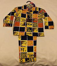 West Coast Eagles AFL Boys Blue Gold Squares Flannel Pyjama Set Size 3 New