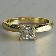 1.00 Ct Princess Cut Diamond Solitaire Engagement Ring Solid 14k Yellow Gold