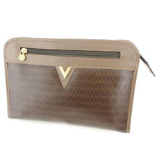 Mario Valentino clutch bag V mark Brown Beige Gold Women Men Auth L2825