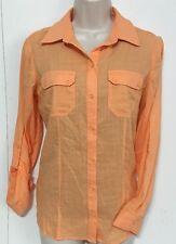CHICO'S Womens Cotton Button Up Shirt Blouse Orange Size Sm 0/4 EUC