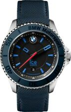Ice-Watch BMW Motorsport Black Dial Navy Blue Canvas and Leather Mens 48 mm