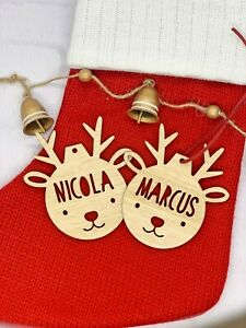 Personalised Reindeer Christmas decoration ornament gift bauble ANY WORDING