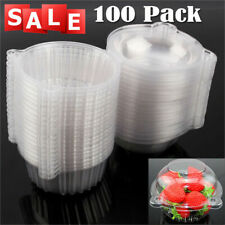 100X Disposable Plastic Cup Cake Boxes Muffin Case Fruit Holder Patty Container