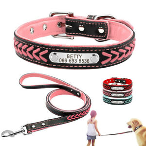 Braided Leather Personalized Dog Collar and Leash set Custom Engraved Name Tag
