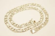 """Long Taxco Mexican 925 Sterling Silver Figaro Chain Necklace.155 g, 65.5 cm, 26"""""""
