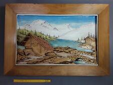 Ancien cadre paysage de montagne en bois sculpté relief et peint peinture chalet
