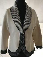Zeitlose LUCIA Damen JACKE Blazer Bolero in weiß Größe 42 Wollmix mit schwarz