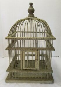 Vintage Rustic Wood and Metal Wire Domed Decorative Green Bird Cage 22""