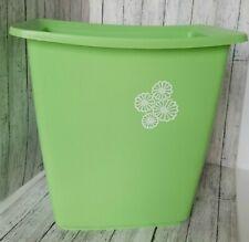 Vintage Rubbermaid Mint Green Wastebasket Trash Can White Flowers #2952-7