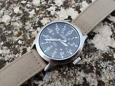Timex INDIGLO Expedition T49962 Field Scout Tan Watch Black Dial
